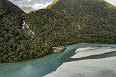 River nature landscape of New Zealand travel adventure. New Zealand aerial drone view from above of  poster