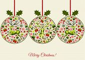 Christmas Greeting  Card With Patterned Xmas Balls. poster