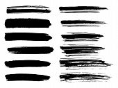 Painted Grunge Stripes Set. Black Labels, Background, Paint Texture. Brush Strokes Vector. Handmade poster