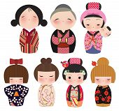 A series of cute japanese kokeshi characters.
