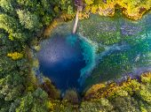 Aerial view of the karst lake named Goluboye Ozero (Blue Lake) surrounded by forest. Maximum depth i poster