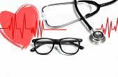 Medical Stethoscope And Red Heart With Cardiogram. Health Concepts poster