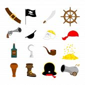 Pirate Set Icon. Flag And Saber. Piratical Hat And Wooden Leg. Eye Patch And Rum. Pistol And Helm. S poster