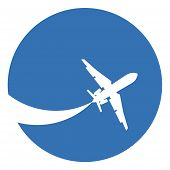 foto of aeroplane symbol  - Silhouette of a aeroplane on a blue background - JPG