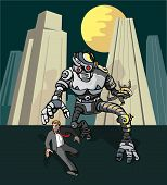 Постер, плакат: Чужеродных роботов гоняться за человек
