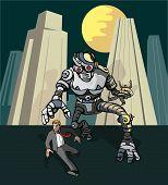Robô alienígena perseguindo homem