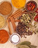 picture of garam masala  - gorgeous setting with cooking spices and herbs  - JPG