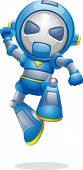 Illustration of a Toy Robot Jumping with Glee