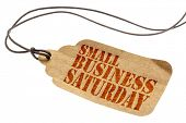 Small Business Saturday sign - a paper price tag with a twine isolated on white poster