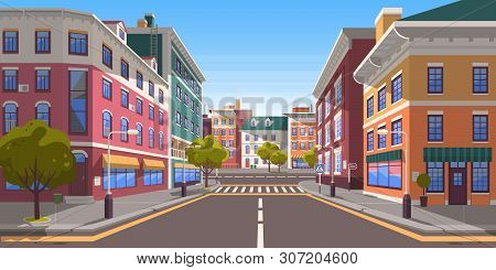 poster of Street Of Town Vector, City With Path And Roads, Pedestrian Crossings And Zebra, Trees And Plants On