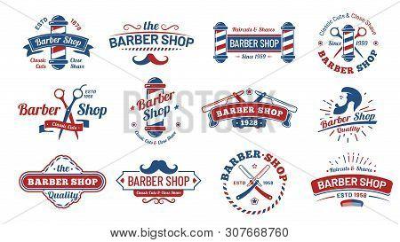 poster of Barbershop Badges. Vintage Barber Label, Retro Shave Salon Badge And Gentleman Haircut Old Sign. Bar
