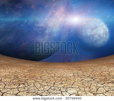 Постер, плакат: Планеты и трещины земли, холст на подрамнике