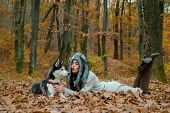 Wild In Soul. Siberian Husky Favorite Pet. Animal Husbandry. Girl Pretty Stylish Woman Walking With  poster