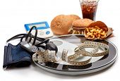 Fast food and medical devices tonometer (blood pressure measuring device) and blood glucose meter, s poster