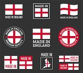 Made In England Icon Set, Made In England Product Labels poster