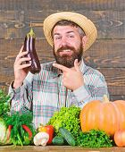 Grow Organic Crops. Homegrown Organic Food. Man With Beard Wooden Background. Organic Horticulture C poster