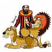 image of cannibal  - The Jewish prophet and wise man Daniel is in a ditch with lions cannibals Bible illustration - JPG