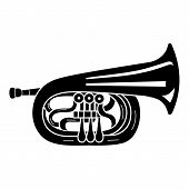 Jazz Trumpet Icon. Simple Illustration Of Jazz Trumpet Vector Icon For Web Design Isolated On White  poster
