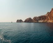 Panorama On The Stone Island In The Sea On Summer Day, View From The Sea. Island In The Sea. Grotto  poster