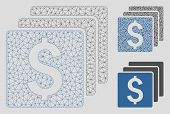 Mesh Finances Model With Triangle Mosaic Icon. Wire Carcass Triangular Mesh Of Finances. Vector Comp poster