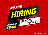 Hiring Recruitment Join Our Team Send Us Your Cv Design For Banner Poster. We Are Hiring Lettering W poster