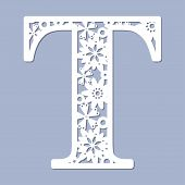 Laser Cutting Pattern. Letter T. Decorative Letters Of The Alphabet. The Initial Letters Of The Mono poster