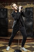 Portrait Of Handsome Attractive Singer Singing In Microphone. poster