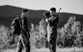 Friendship Of Men Hunters. Military Uniform. Army Forces. Camouflage. Hunting Skills And Weapon Equi poster