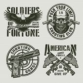 Vintage Monochrome Military Logos With Eagle Holding Carbine Rifle Pistol Gun Sight Bearded And Must poster