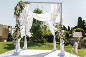 Beautiful Outgoing Wedding Set Up. Jewish Hupa  On Romantic Wedding Ceremony , Wedding Outdoor On Th poster