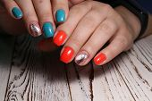Stylish Design Of Manicure On Long Beautiful Nails poster