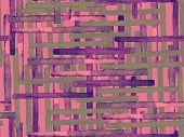 Bauhaus Seamless Pattern. Watercolor Geometric  Red Pink Lines Design. Art Organic Geo Background. L poster