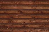 Texture Of Brown Shabby Wooden Fence. Old Wooden Boards With Nails. Pattern Of Wooden Surface Of Log poster