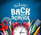 Back To School Vector Banner Design With School Items, Education Elements, Alarm Clock And Welcome B poster