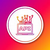 Color Computer Api Interface Line Icon Isolated On Color Background. Application Programming Interfa poster