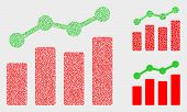 Dotted And Mosaic Trend Charts Icons. Vector Icon Of Trend Charts Created Of Random Circle Dots. Oth poster