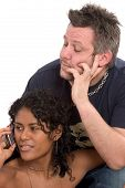Man Looking Bored While His Girlfriend Is Talking On The Phone poster