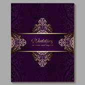 Wedding Invitation Card With Gold Shiny Eastern And Baroque Rich Foliage. Royal Purple Ornate Islami poster