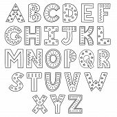 Black And White Alphabet. Hand Drawn Outline Abc. Vector Illustration poster