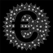 Glowing Mesh Euro Warranty Stamp With Glare Effect. Abstract Illuminated Model Of Euro Warranty Stam poster