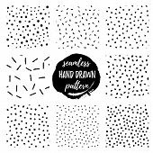 Set Vector Seamless Hand Draw Patterns. Endless Textures In Monochrome, Black And White. Scandinavia poster
