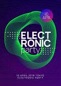 Electronic Fest. Creative Concert Magazine Template. Dynamic Gradient Shape And Line. Neon Electroni poster
