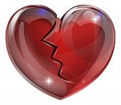 pic of bereavement  - Illustration of a broken heart with a crack - JPG