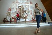 BELO HORIZONTE, BRAZIL - JULY 22:  Tourists walk inside the church of Sao Francisco de Assis July 22, 2005 in Belo Horizonte. Built by Oscar Niemeyer it is also known as the Church of Pampulha.