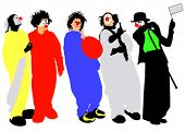 Vector image colourful clowns in comedians masked