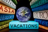 vacation books or travel guides going on a holiday a city trip explore the world a cruise or a safari or beach vacations tourism destinations, Elements of this image furnished by NASA