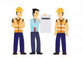 Insurance Agen Briefs Work Insurance To Construction Workers. Concept Of Work Safety And Insurance.  poster