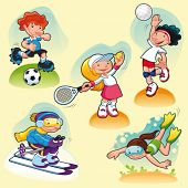 Sport characters with background. Cartoon vector illustration.
