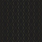 Golden Texture. Seamless Geometric Circular Elements Pattern. Golden Wavy Lines Background. Vector S poster