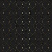 Golden Texture. Seamless Geometric Circular Elements Pattern. Golden Wavy Lines Background. Vector S poster